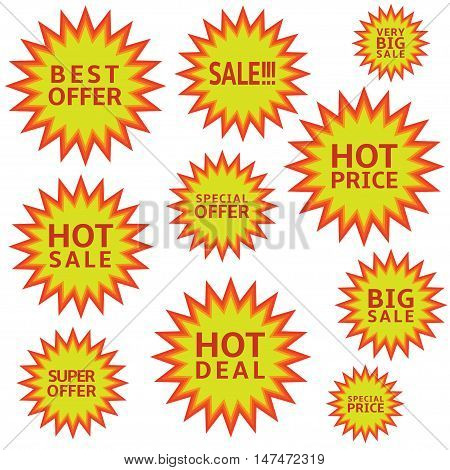 Promotion label set Advertising icons Marketing badge Hot price Hot sale Super offer