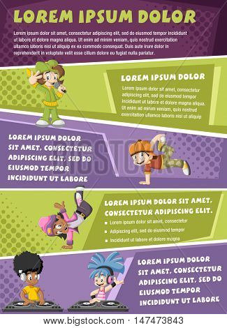 Vector brochure backgrounds with cartoon hip hop dancers with a singer and a dj playing music. Infographic template design.