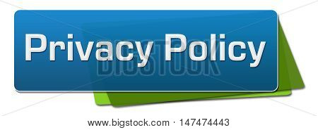 Privacy policy text written over blue green background.