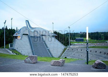 OSLO, NORWAY - AUGUST 28, 2016:  Holmenkollen ( Holmenkollbakken ) ski jump in Oslo.