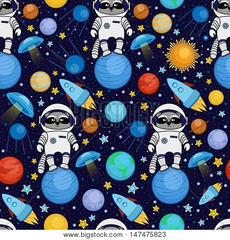 Colorful seamless cartoon space pattern with raccoon astronauts, rockets, planets, stars on starry night sky background, vector illustration. Cute and bright space travel seamless pattern