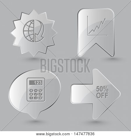 4 images: globe and array down, diagram, calculator, 50% OFF. Business set. Glass buttons on gray background. Vector icons.