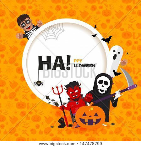 Stock vector banner Happy Halloween with the characters in a flat style on seamless pattern for printed materials, cards, greetings, invitations to a party