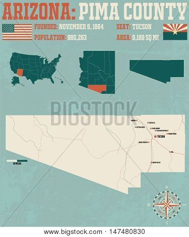 Large and detailed map and infographic of Pima County in Arizona.