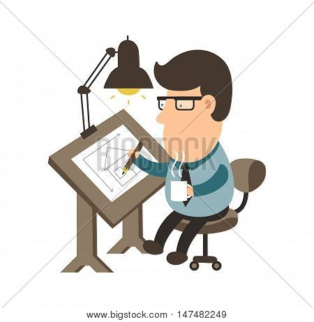 Architect working on desk. House project. draftsman flat illustration character design. Isolated on white background