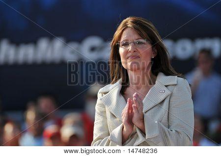 O'FALLON - AUGUST 31: Governor of Alaska Saran Palin at a rally in O'Fallon near St. Louis, MO on August 31, 2008