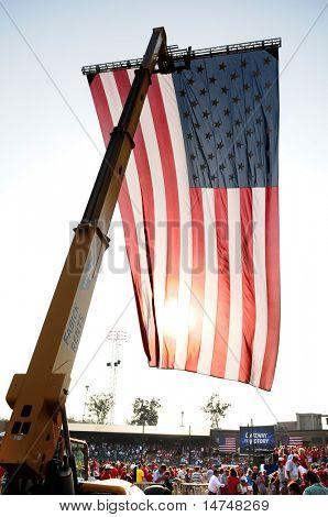 O'FALLON - AUGUST 31: A U.S. flag hangs at a McCain rally in O'Fallon near St. Louis, MO on August 31, 2008