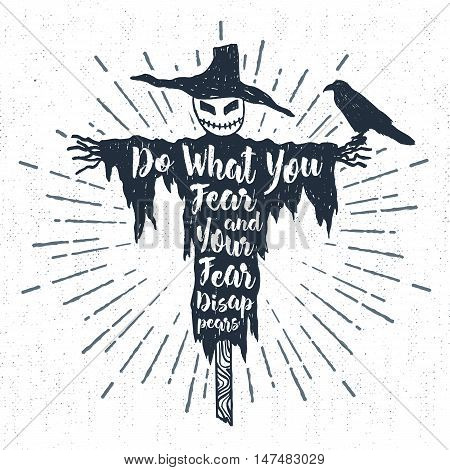 Hand drawn Halloween label with textured scarecrow vector illustration and