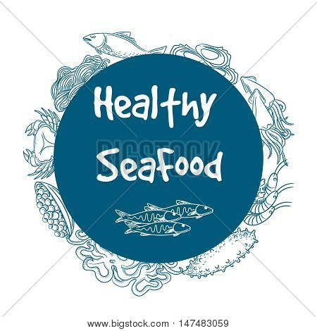Hand drawn healthy seafood circle banner label vector