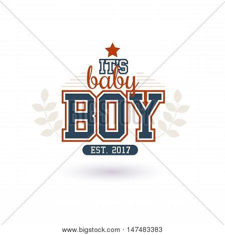 Varsity Style New Baby Boy 2016 Shower Isolated On White
