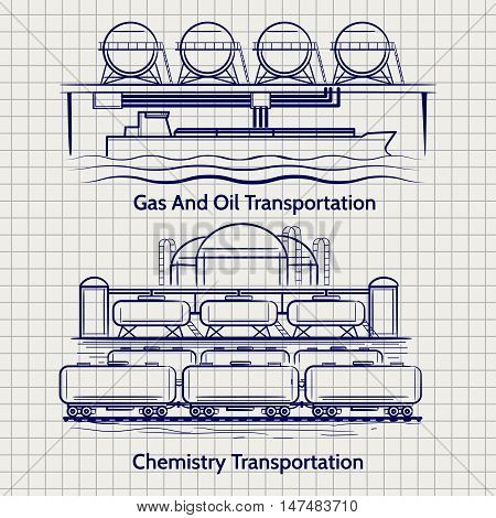 Sketched factory industrial landscape chemical production vector