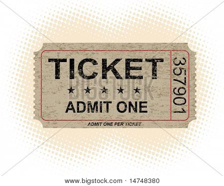 Old paper ticket with halftone background - VECTOR