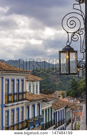 Houses with your flashlight and lights in the historic city of Ouro Preto in Minas Gerais