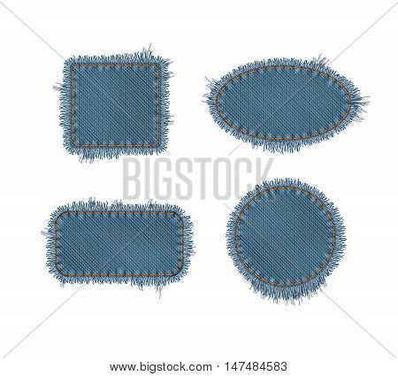 Set Of Vector Photo Realistic Torn Denim Patches - Square, Circle, Rectangular and Oval