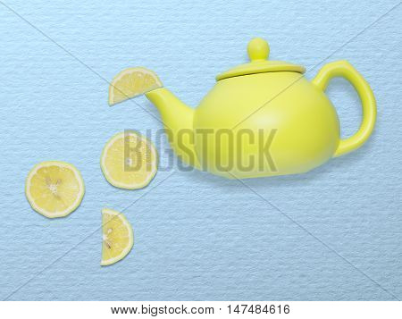 Creative concept photo of a tea pot with lemon slices on blue background.