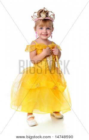 Little Princess with yellow dress and magic wand