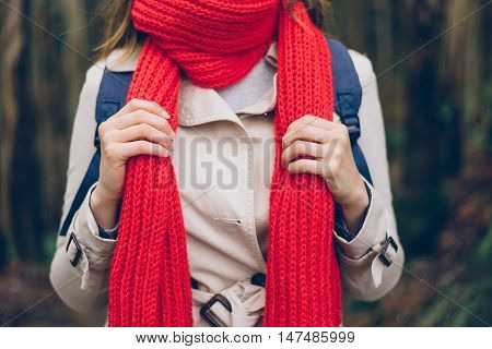 Woman Wearing Warm Red Scarf