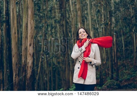 Woman Enjoying Her Free Time With A Daytrip To The Forest