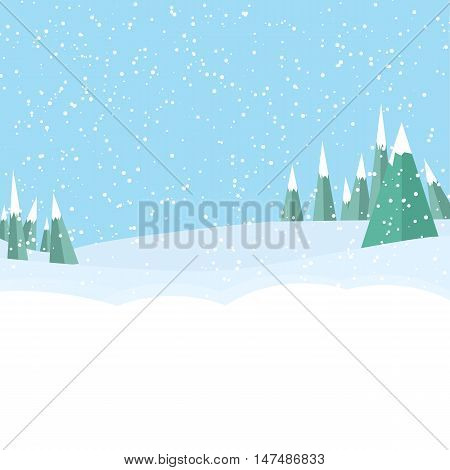 game landscape background with tree, snow on blue background