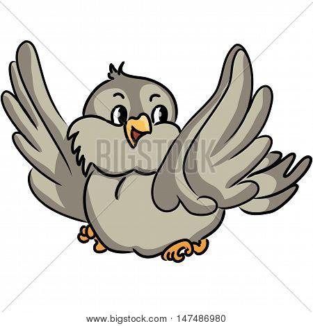 Cartoon bird. Vocabulary of body parts. Vector illustration