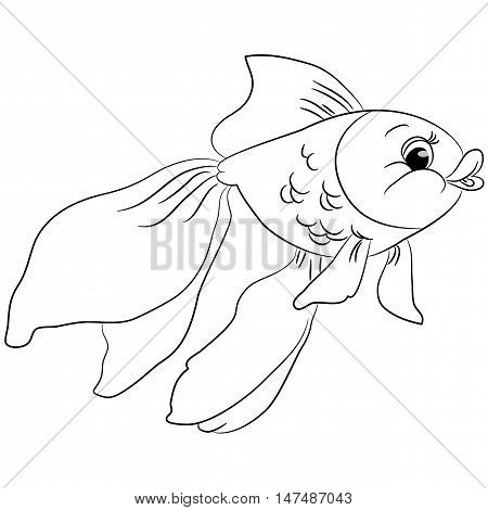 Cartoon goldfish. Vocabulary of body parts. Vector illustration