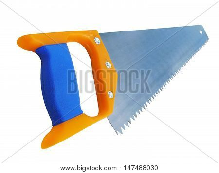 Arm saw with plastic handle insulated on white background