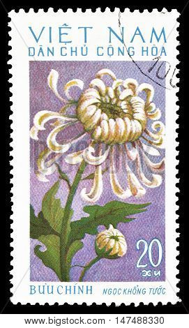 VIETNAM - CIRCA 1974 : Cancelled postage stamp printed by Vietnam, that shows Chrysanthemum.