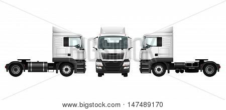 Truck template on white. Isolated vector cargo car. Transport pattern for advertising design