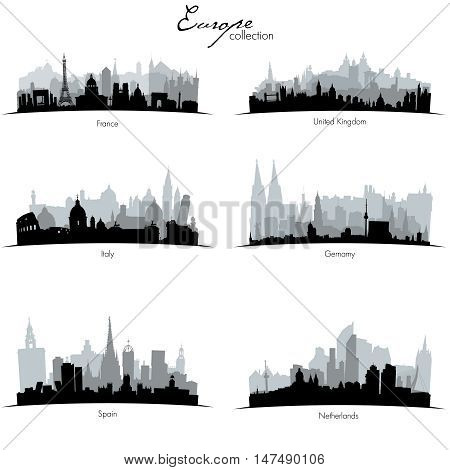 Collection of black and gray Vector european countries silhouettes