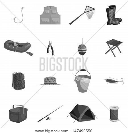 Fishing icons set in black monochrome style. Fish accessory and tools set collection vector illustration