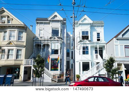 San Francisco USA - September 26 2015: The traditional vintage shape of the houses in Castro street.