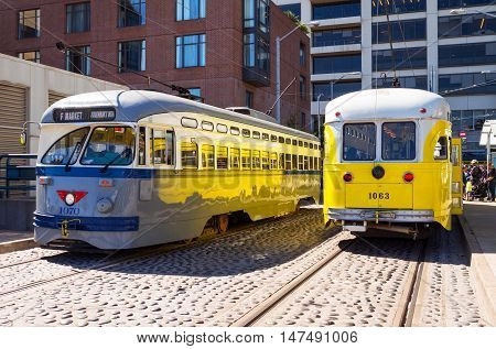 San Francisco USA - September 26 2015: Two historical streetcar in Market street area