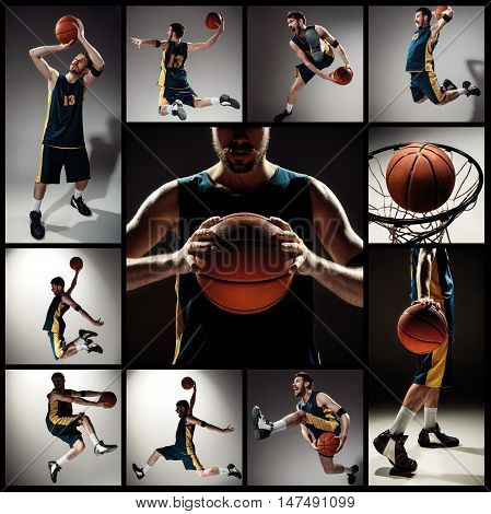 Collage of basketball photos - ball in hands and male player on gray background