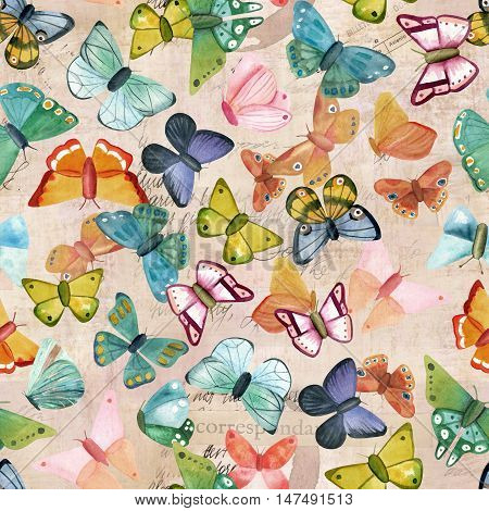 Vintage seamless pattern with many different butterflies on fragments of letters and old paper textures. Toned background