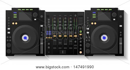 Music workstation. Black DJ decks, mixer Vector illustration