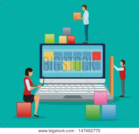 Avatar people with blocks and laptop icon. Industry app and construction theme. Colorful design. Vector illustration