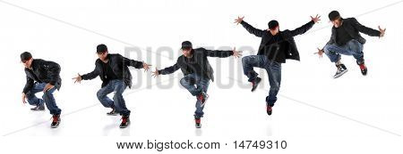 African American hip hop dancer in dance jump progression - EXTRA LARGE SIZE poster