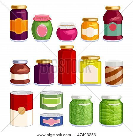 Preserved food in jars and cans icons set. Jam spread soup green pea gherkin in glass and tin containers. Grocery vector illustration.