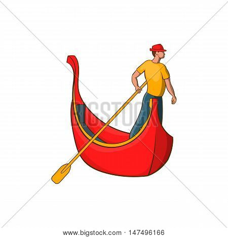 Venice gondola and gondolier icon in cartoon style isolated on white background vector illustration