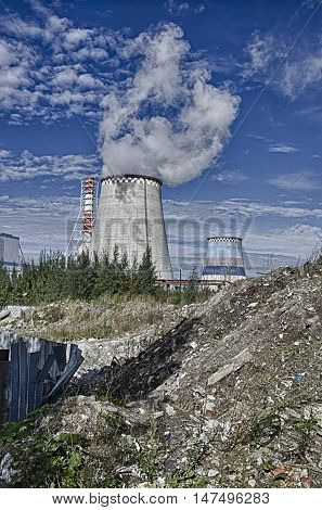 Apocalyptic landscape.The emission of harmful substances which is carried out by a heatpower main line.