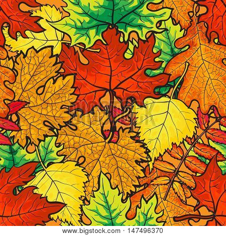 Bright and colorful autumn leaves seamless pattern, cartoon style vector illustration isolated on white background. Autumn leaves seamless pattern for textile, prints, backgrounds, wrap and cards