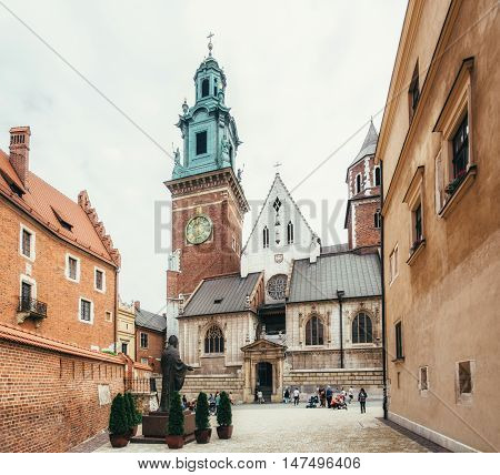 KRAKOW POLAND - JUNE 27 2015: Royal Archcathedral Basilica of Saints Stanislaus and Wenceslaus on the Wawel Hill Krakow Poland