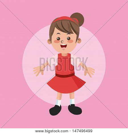Cartoon and happy girl kid. Childhood student and happyness theme. Colorful and circle design. Vector illustration