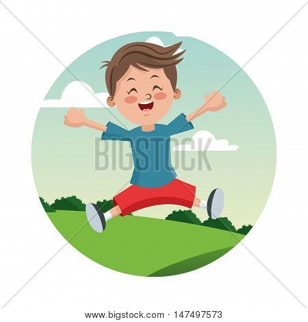 Cartoon and happy boy kid. Childhood student and happyness theme. Colorful and circle design. Vector illustration