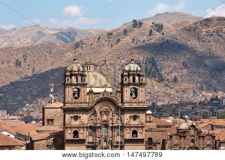 CUSCO PERU - August 31 2016: View of Iglesia de la Compania de Jesus in Cusco Peru on August 31 2016. In 1983 Cusco was declared a World Heritage Site by UNESCO.