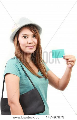 women holding blank card on white background