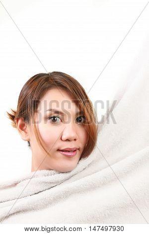 woman rub the body dry on white blackground