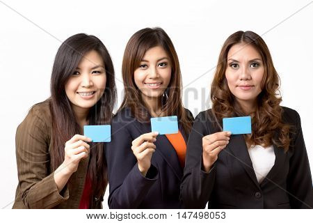 tree business woman holding blank card on white background