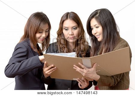 business woman open the file for information