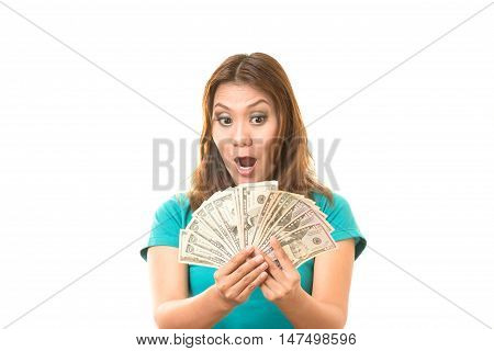 Woman shocked the money at her hand.